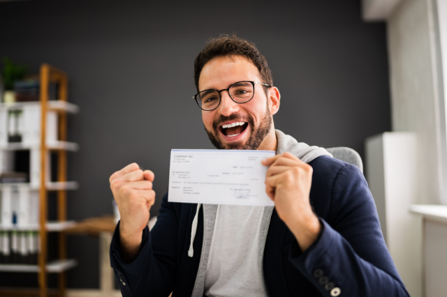 image of man with wage slip