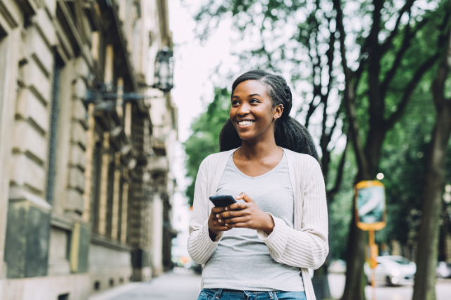 picture of a woman using a phone